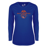 Ladies Syntrel Performance Royal Longsleeve Shirt-Tall Football Design