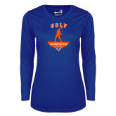 Ladies Syntrel Performance Royal Longsleeve Shirt-Golf Stacked