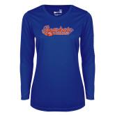 Ladies Syntrel Performance Royal Longsleeve Shirt-Softball Lady Design