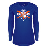 Ladies Syntrel Performance Royal Longsleeve Shirt-Softball Design w/ Bats and Plate