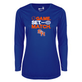 Ladies Syntrel Performance Royal Longsleeve Shirt-Tennis Game Set Match