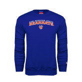 Royal Fleece Crew-Arched Sam Houston State Bearkats w/Paw