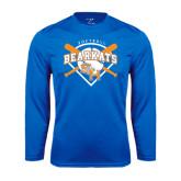 Syntrel Performance Royal Longsleeve Shirt-Softball Design w/ Bats and Plate