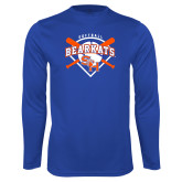 Syntrel Performance Royal Longsleeve Shirt-Softball Design w/ Bats and Plate