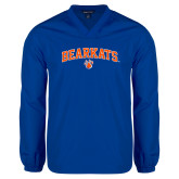 V Neck Royal Raglan Windshirt-Arched Bearkats w/Paw
