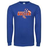 Royal Long Sleeve T Shirt-Soccer Swoosh