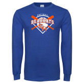 Royal Long Sleeve T Shirt-Softball Design w/ Bats and Plate