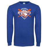 Royal Long Sleeve T Shirt-Softball Design w/ Bats and Plate