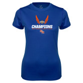 Ladies Syntrel Performance Royal Tee-Southland Conference Indoor Track and Field Champions