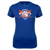 Ladies Syntrel Performance Royal Tee-Softball Design w/ Bats and Plate