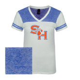 Ladies White/Heathered Deep Royal Juniors Varsity V Neck Tee-SH Paw Official Logo