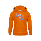 Youth Orange Fleece Hood-SH Paw Official Logo