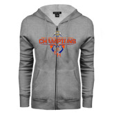 ENZA Ladies Grey Fleece Full Zip Hoodie-2016 Southland Conference Football Champions