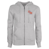 ENZA Ladies Grey Fleece Full Zip Hoodie-SH Paw Official Logo