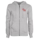 ENZA Ladies Grey Fleece Full Zip Hoodie-SH Paw Official Logo