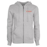 ENZA Ladies Grey Fleece Full Zip Hoodie-Sam Houston Bearkats