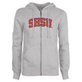 ENZA Ladies Grey Fleece Full Zip Hoodie-Arched SHSU