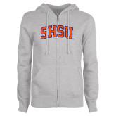 ENZA Ladies Grey Fleece Full Zip Hoodie-Arched SHSU