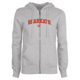 ENZA Ladies Grey Fleece Full Zip Hoodie-Arched Bearkats w/Paw