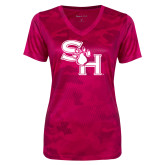 Ladies Pink Raspberry Camohex Performance Tee-SH Paw Official Logo