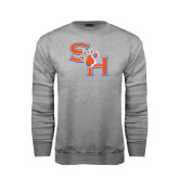 Grey Fleece Crew-SH Paw Official Logo