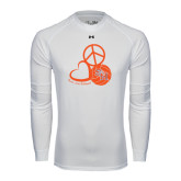 Under Armour White Long Sleeve Tech Tee-Volleyball Design