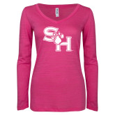 ENZA Ladies Hot Pink Long Sleeve V Neck Tee-SH Paw Official Logo