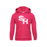 Youth Raspberry Fleece Hood-SH Paw Official Logo