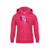 Youth Raspberry Fleece Hood-SH Paw Official Logo Foil