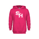 Youth Raspberry Fleece Hoodie-SH Paw Official Logo