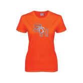 Ladies Orange T Shirt-SH Paw Official Logo