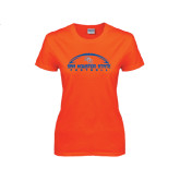 Ladies Orange T Shirt-Arched Football Design