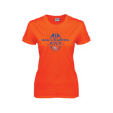 Ladies Orange T Shirt-Tall Football Design