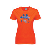 Ladies Orange T Shirt-Basketball in Ball