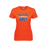 Ladies Orange T Shirt-Golf Tee Off