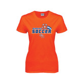 Ladies Orange T Shirt-Soccer Swoosh