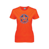 Ladies Orange T Shirt-Soccer Circle