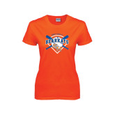 Ladies Orange T Shirt-Softball Design w/ Bats and Plate