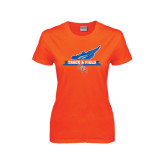 Ladies Orange T Shirt-Track and Field Side Design