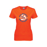 Ladies Orange T Shirt-Volleyball Stars Design