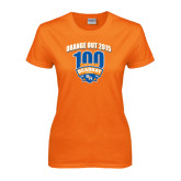 Ladies Orange T Shirt-100th Football Season w/ Arched Headline