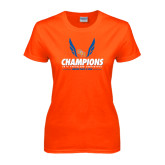 Ladies Orange T Shirt-2016 Southland Conference Champions Indoor Track & Field