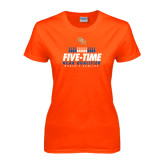 Ladies Orange T Shirt-Five-Time NCAA Qualifier Womens Bowling