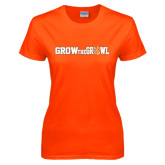 Ladies Orange T Shirt-Grow the Growl Horizontal
