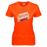 Ladies Orange T Shirt-Friends Dont Let Friends Wear Purple