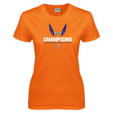 Ladies Orange T Shirt-Southland Conference Indoor Track and Field Champions