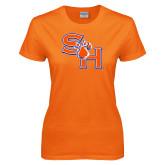 Ladies Orange T Shirt-SH Paw Official Logo