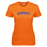 Ladies Orange T Shirt-Arched Bearkats w/Paw