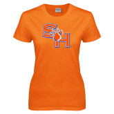 Ladies Orange T Shirt-SH Paw Official Logo Distressed