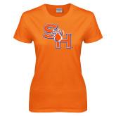 Ladies Orange T Shirt-SH Paw Official Logo Distressed
